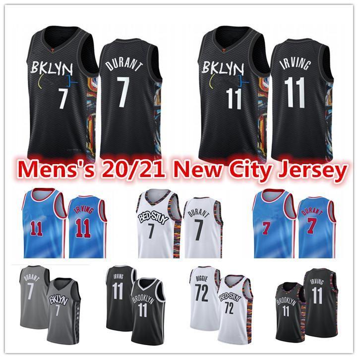 남성 2021 New Kevin 7 Durant Kyrie # 11 저지 Irving BKLYN CARIS22 Levert 72 Biggie Small Spencer City Black Edition Basketball Jerseys