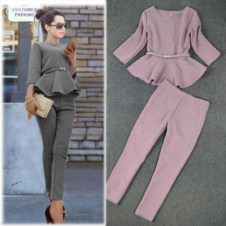 Yeni Bahar Sonbahar Moda Bayan Iş Pantolon Suits Houndstooth Check Desen Ruffles Kadınlar Için Takım Elbise 2 Parça Set