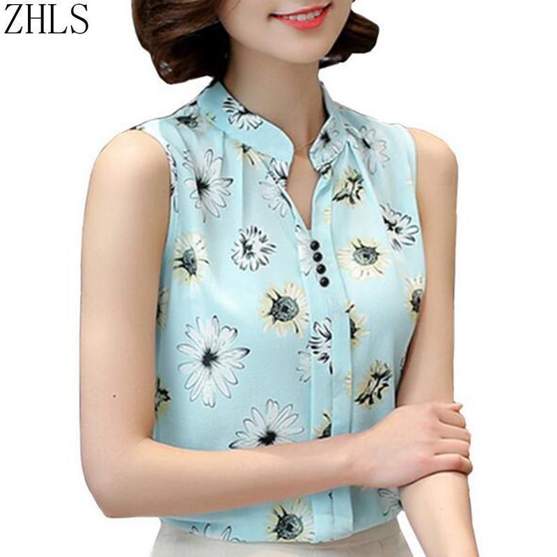 Blusas de mujer Camisas Blusa de gasa para las mujeres de verano Sin mangas Impresión Femme Work Wear Fashion Slim Tops Shirt Blusas Mujer Señoras