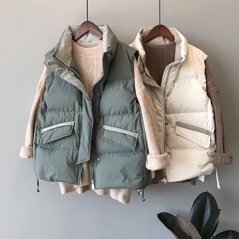 여성 조끼 2021 겨울 슬림 스트라이프 스탠드 위로 칼라 레이스 두꺼운 면화 허리 코트 여성 패션 세련된 게으른 바람 조끼 탑 여성