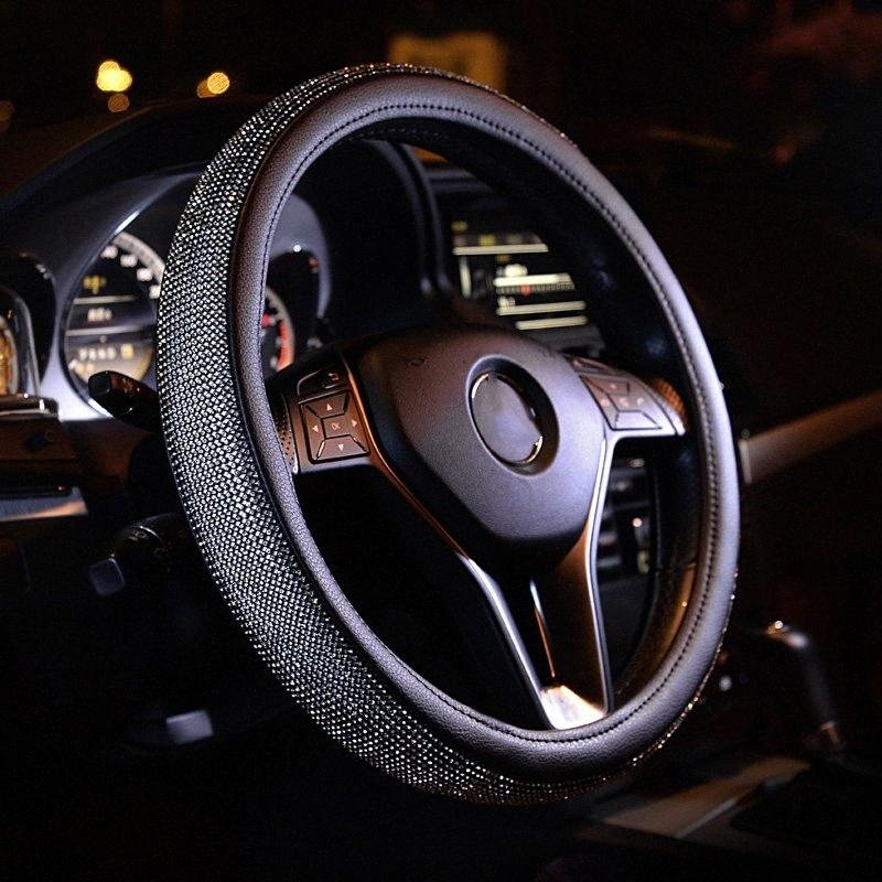 Универсальные крышки рулевого колеса Ручка Rhinestone Алмазного Кожаные Рулевые Covers Мода для женщин девушки автомобили Стайлинг Аксессуары nlEj #