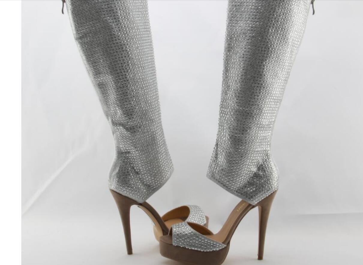 Neue Art und Weise Frauen öffnen Zehe-Stiefel Strass hohe Plattform Gladiator Boot Cut-out-Knie-hohe Booties Kristall High Heel Stiefel Kleid-Schuhe