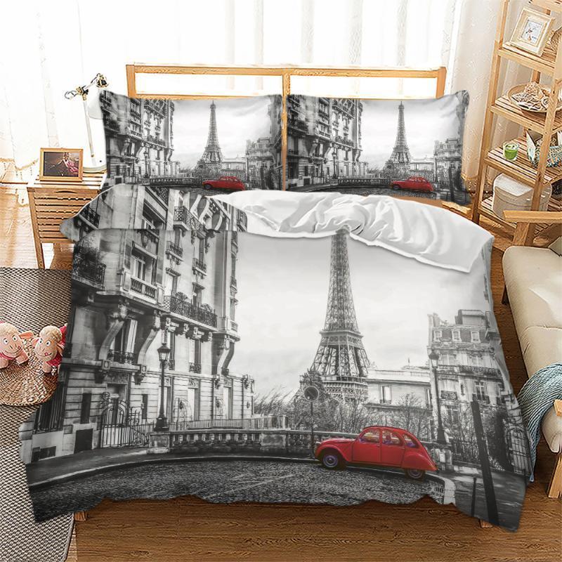 Paris The Eiffel Tower Imprimé Literie Ensemble Lit de couette Queen Taille Bed King Duvet Cover Set Haute Quality1