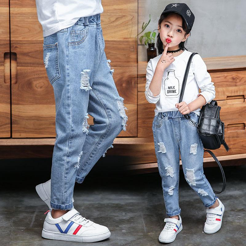 Jeans Baby Girl Cotton Hole Pants Fashion Autumn Light Blue Trousers Teenage School Girls Clothing Ripped Jeans for Kids 201013