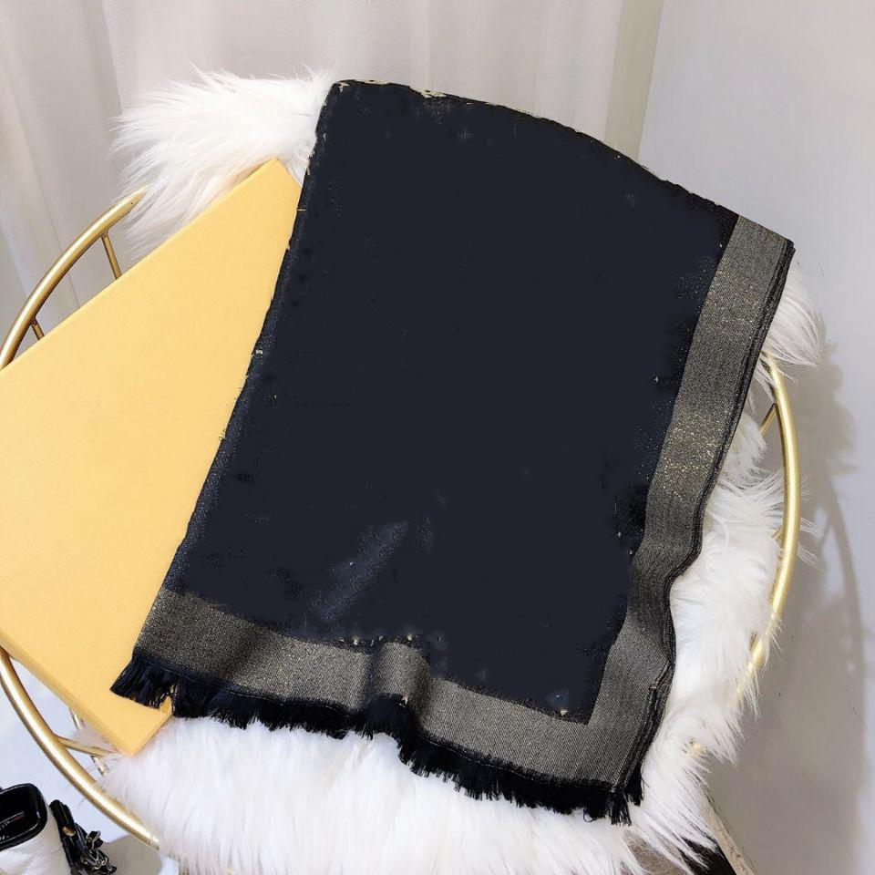 أعلى مصمم صوف وشاح الأزياء الفاخرة مشرق الذهب الخيط الصوف المنسوجات وشاح 180/70 سنتيمتر