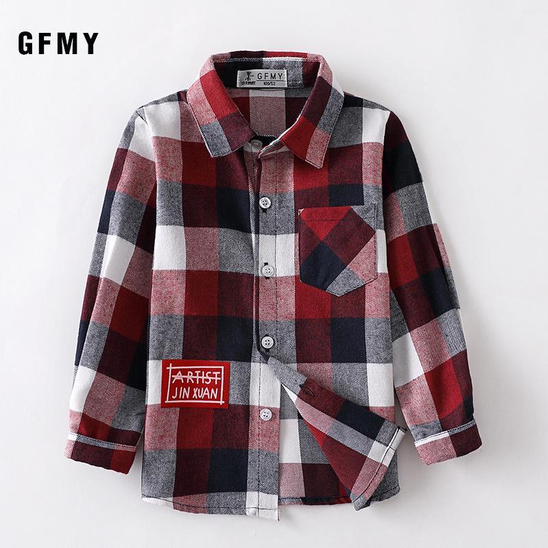 GFMY 2020 otoño 100% de algodón de manga niños de moda llena camisa de tela escocesa 2T-14T Casual niño grande ropa puede ser un abrigo