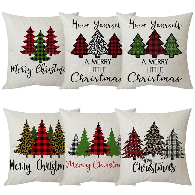 Cubierta de cojín de estilo de árbol de Navidad 3pc Linda Feliz Navidad Carta de almohada Caja de almohada Home Sofá Caja de almohada de lino de algodón decorativo F9