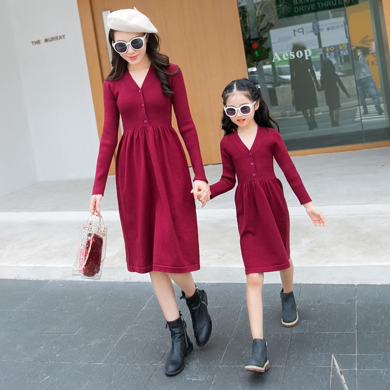 Mother Daughter Clothes Kids Dresses Princess Girls for Party Mom and Me Matching Sweaters with Dress