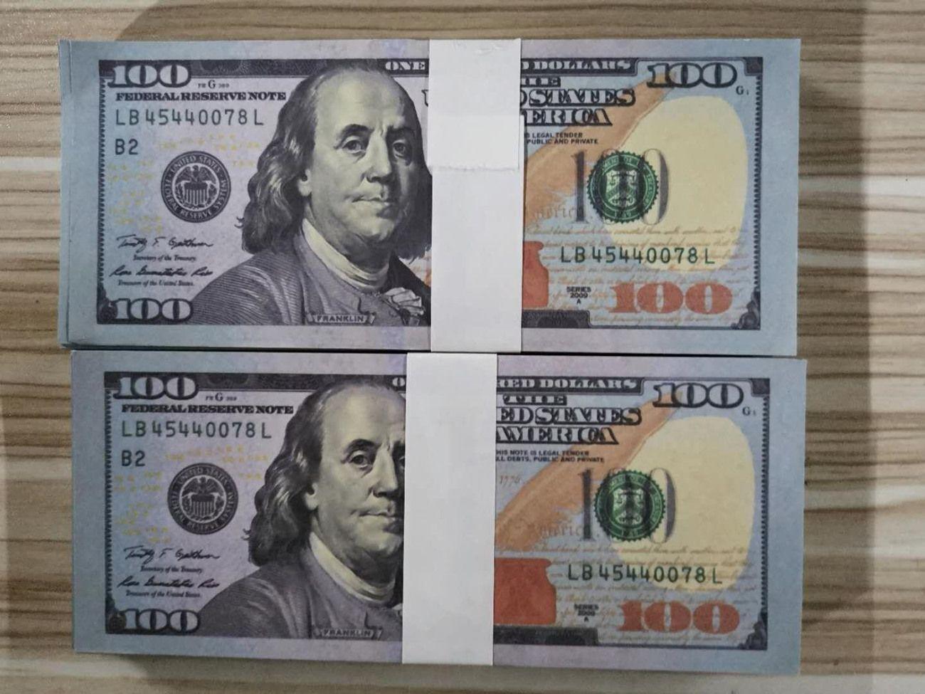 Collection d'argent contrefait 100 Atmosphère jouet Pistolet Fake Party Banknote Hot Film Vente Play Stade Banknote Dollars Barre contrefaite KGBG