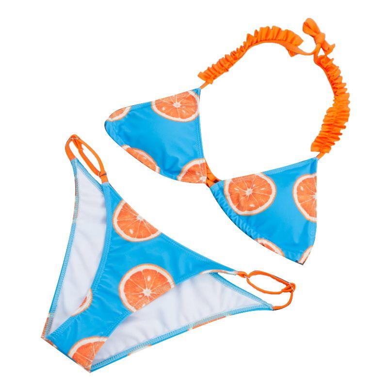 Donne Bikini 2019 Aranci sexy Bikini taglio Bikini Flower Due pezzi Costume da bagno Costumi da bagno Swimwear Beachwear