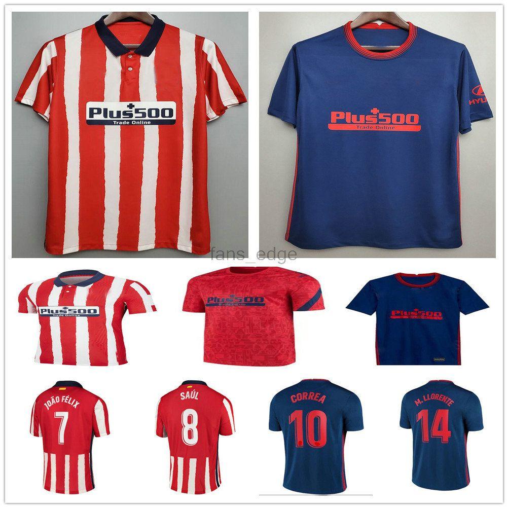 2020 2021 Joao Felix Madrid Soccer Jerseys 20 21 Saul Morata Correa Lemar Diego Costa Custom 20 21 Adulti Bambini Casa Away Camicia da calcio