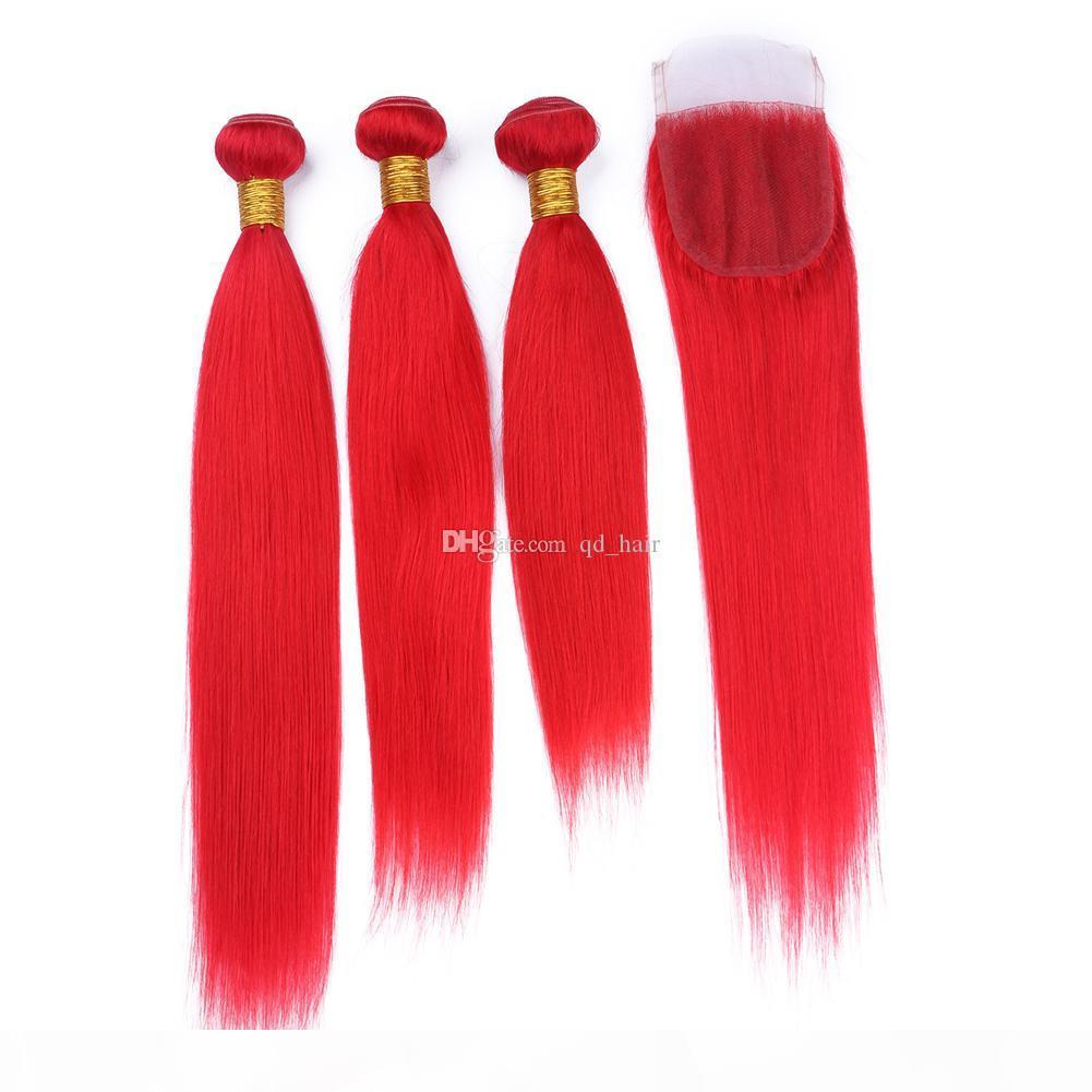 Yeni Geliş İpeksi Düz Kızıl İnsan Saç 3 Paketler ile Dantel Kapatma Popüler Kırmızı Renk Brezilyalı saç örgüleri ile Dantel Kapanış 4x4
