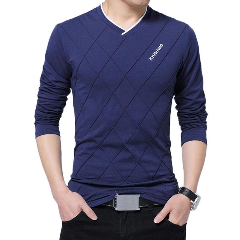 Camicia maniche lunghe maniche corte design pieghevole elegante di lusso per il fitness V T-shirt camisetas camicia uomini di alta moda collo degli uomini maglietta allentata