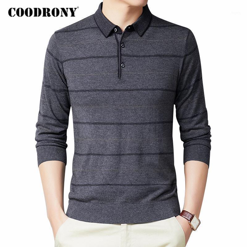 COODRONY Marca de lana suéter hombres negocio casual rayado tirón homme otoño invierno rechazo cuello de tocada jersey camisas C10901