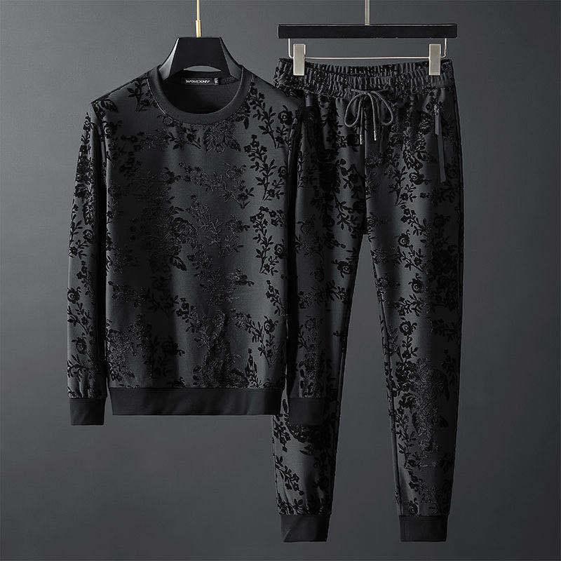 2020 Autumn europäische Waren neue personalisierte einfache Jacquard Rundhals Langarm Pullover Hosen zweiteilige Klage der Männer Gezeiten