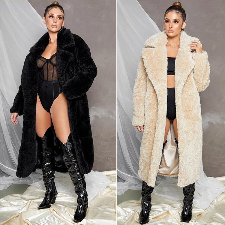 Imitação Cordeiro Wool Womens Fur Inverno Sólidos lapela Cor do pescoço solto Mid-bezerro Breve Mulheres Designer Casacos