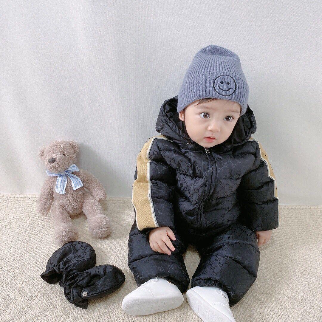 I bambini inverno tuta con cappuccio del ragazzo della neonata Snowsuit Russian Winter infantile Outerwear camici del bambino spessi pagliaccetti con guanti e cappotto