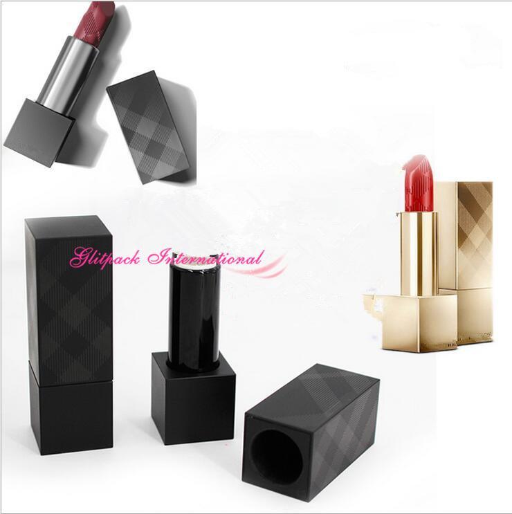 Presale 100pcs Qualitäts CAMEO Lippen Abdeckung weicher Satin leeren Lippenstift 3.5g Schwarz Kunststoff-Rohre w / Magnetic Cap 12.1mm