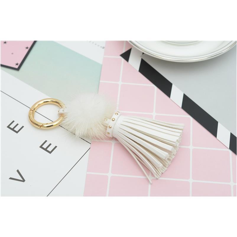 One SqcUwW Mink Ring With Ball Leather Key Fur Key Tassels For Car Keychain Jewelry Chain With Bag Eh812 F Tassels Wcjjm