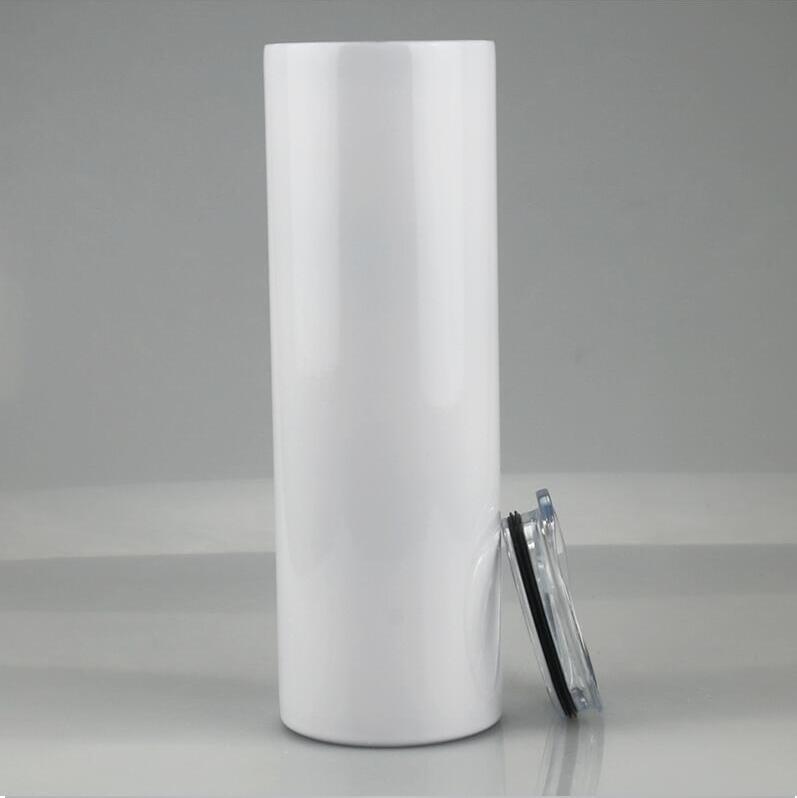 20 oz 30oz Boş Süblimasyon Düz Tumblers Paslanmaz Çelik Boş Isı Transferi Kupalar Kapaklı ve Plastik Hasır Deniz Nakliye ile CCA12616