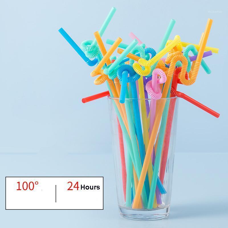 100 шт. Одноразовые соломинки изогнутые пластиковые питьевые соломинки полосатая радуга коктейль для вечеринки сгибаемые бар питьевой соломинки1 txnqq