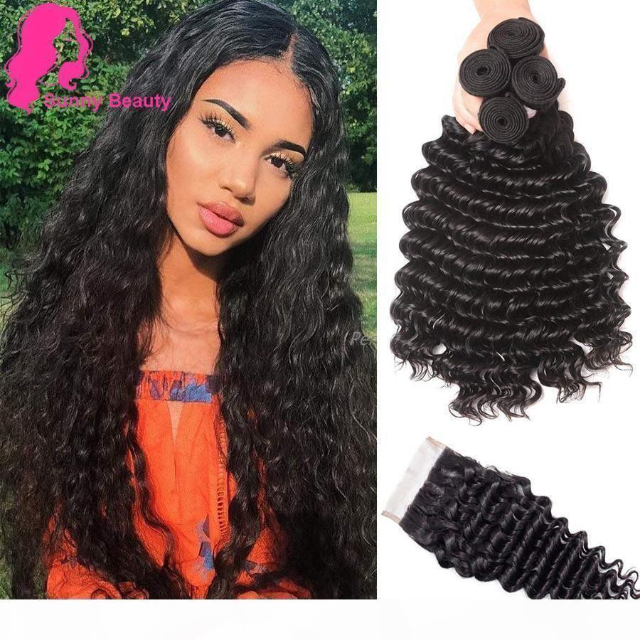 Малайзианская девственница глубокая волна 3 пучка с закрытием 100% необработанные человеческие волосы глубокие вьющиеся вьющиеся пачки с швейцарским кружевным закрытием мокрый волнистый