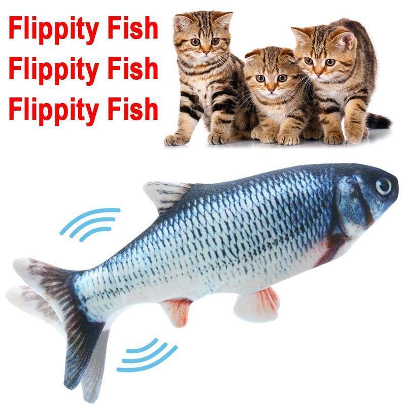 물고기 고양이 장난감 현실적인 플러시 전기 뒤집기 인형 재미있는 대화 형 애완 동물 씹는 물린 재료 장난감 키티 운동에 적합