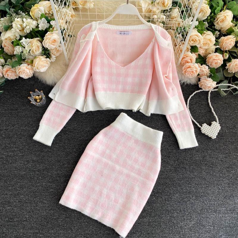 Korean Sweet Knit Plaid Cardigans Camisole Skirts 3pcs Sets Girls Short Sweater Coat Vest + Mini Skirt Suits Women Outfits 201109