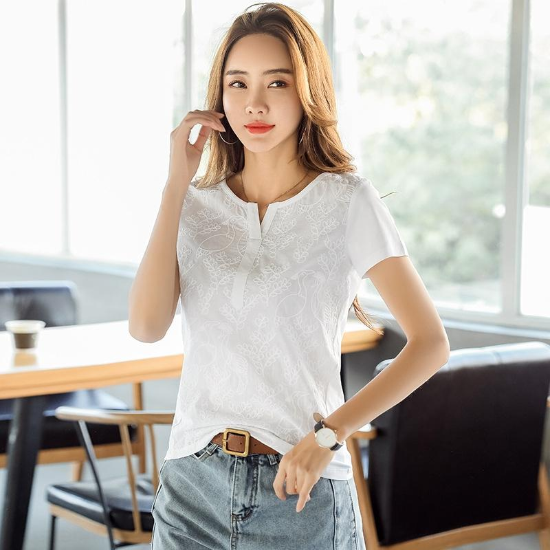 R4ni3 2020 Summer new temperament shirt large for fat mm Women's fashionable Lace slim lace embroidered stitching short-sleeved T-shirt size