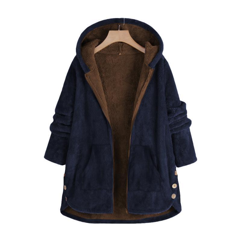 Manteau longue en molleton pour femmes 2021 Spring à capuche surdimensionnée Veste en vrac Casual Womens Vêtements Grand Plus Taille Navy Rouge Manteau Femme