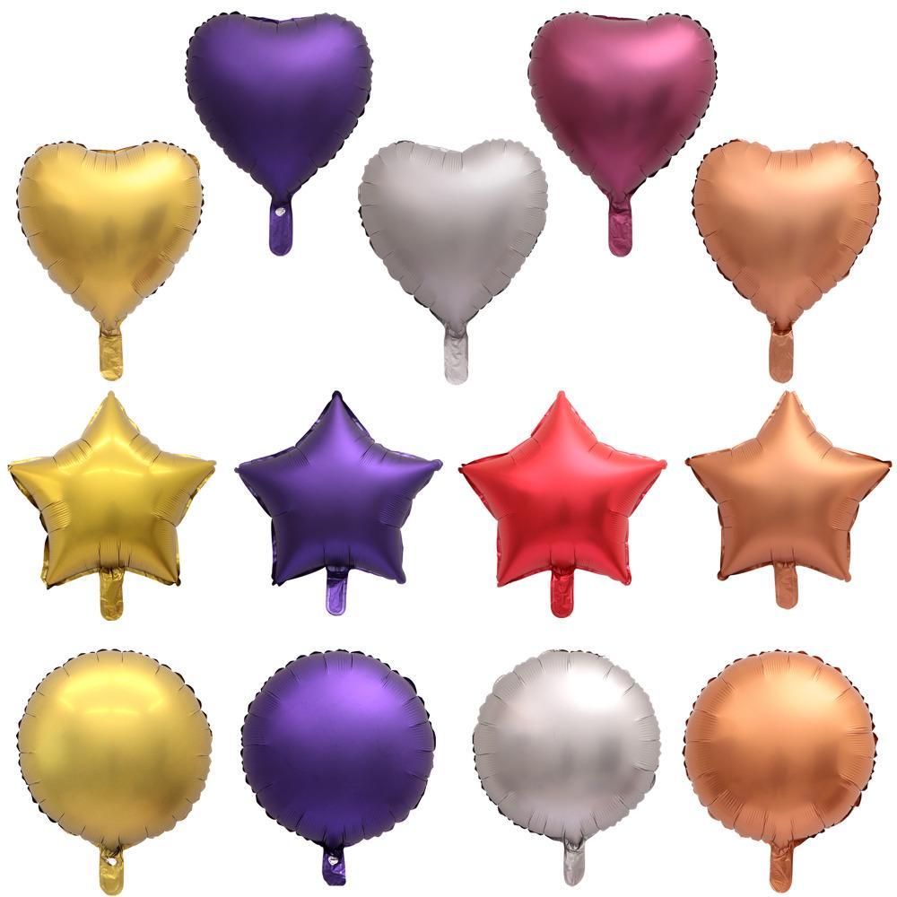 18 chaleur 50pcs pouces ronde étoile métallique Ballon Air mariage Décoration Joyeux anniversaire Ballon couleur métal coeur hélium Ballon