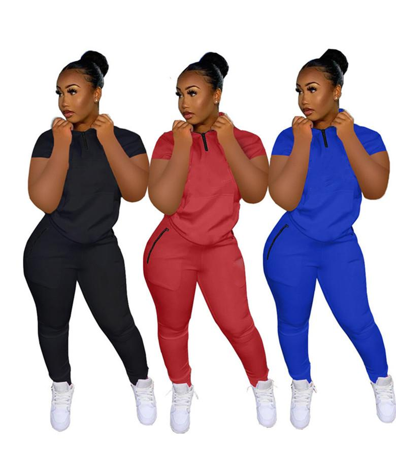 womens two piece set tracksuit T-shirt pants outfits short sleeve sportswear shirt trousers sweatsuit pullover tights sportswear hot klw0245