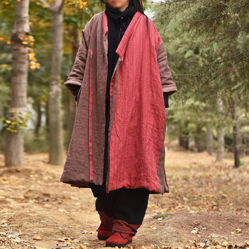 Brasão Johnature Parka Patchwork Mulheres novas de roupas de lazer solto Belt Vintage Painéis Concise All-jogo Ladies Cotton Coats 201015