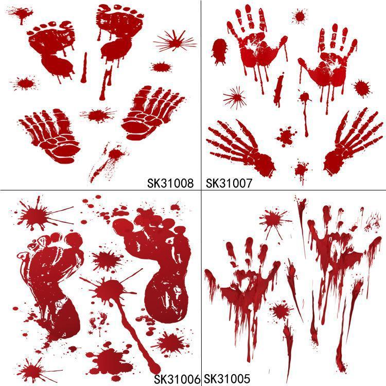1pc Halloween Décoration sanguine Empreinte de mainPrints de mise à la main Stickers muraux Stickers de fenêtre Stickers de mur amovible PVC