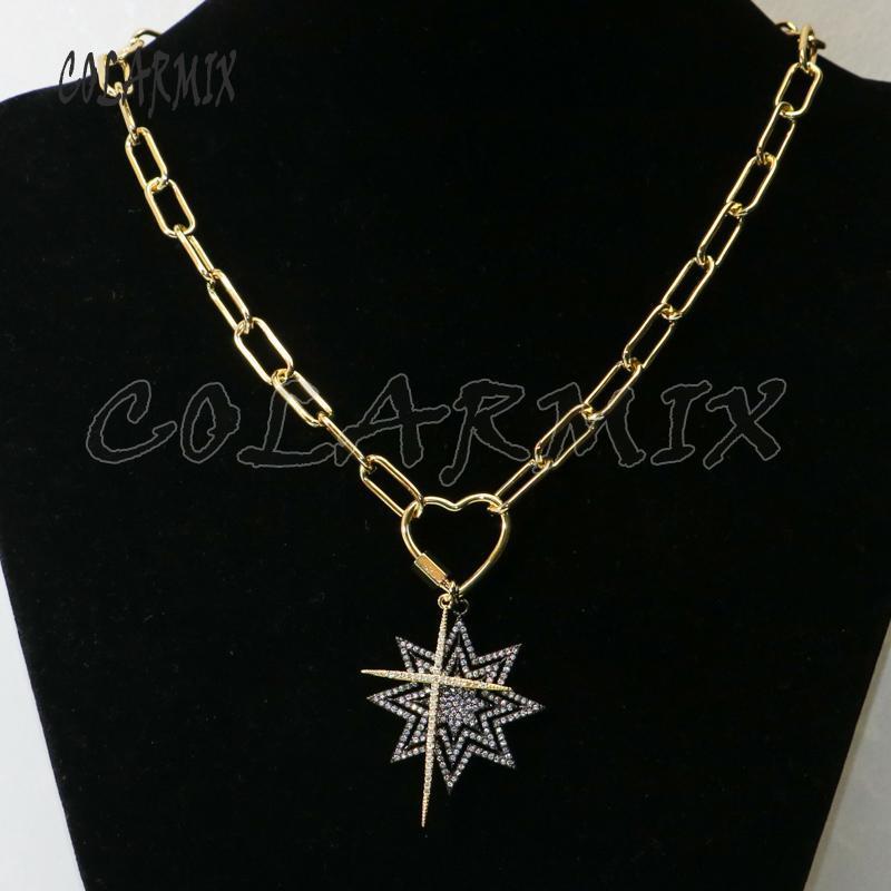 3pcs double collier pendentif accessoires zircons collier pendentif garder la couleur croix étoile grande chaîne de lien pour les femmes 50370