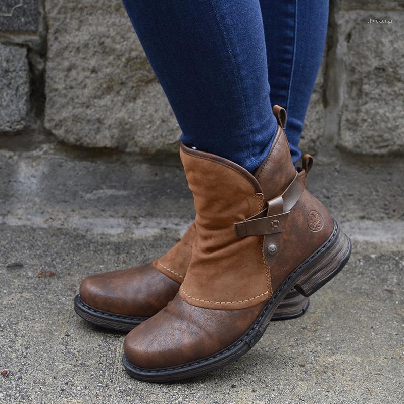Kış Kadın Peluş Çizmeler PU Deri Patchwork Fermuar Toka Düşük Topuk Moda Kadın Kısa Boots1