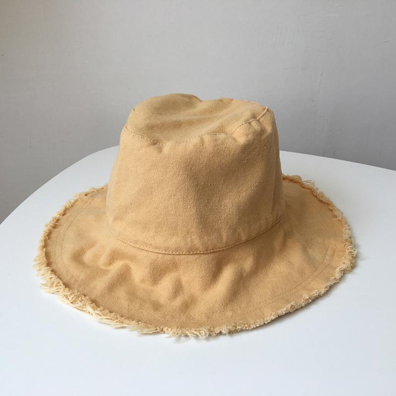 2020 New Women Bucket Hats Rough Selvedge Summer Sun Hat Female Casual Fresh All Match Solid Dome Caps Adult Travel Good Gift