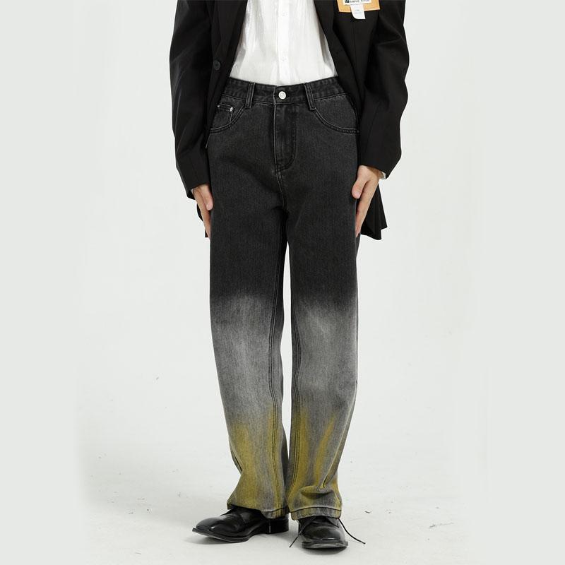 Mâle Streetwear Hop Hop Denim Pantalons Hommes Cravate Dye Gradient Lâche Décontracté Droit Jeans