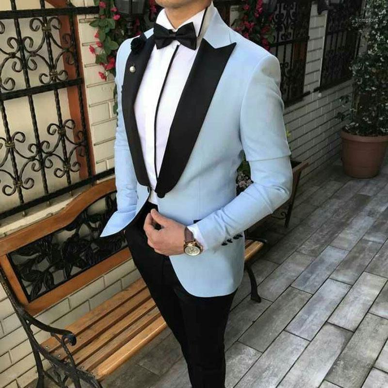 Мужские костюмы Blazers Sky Blue Wedding Support для мужчин смокинг 2021 Terno Masculino человек Blazer Homme PROM Groom пика для лацкана + брюки одежда1