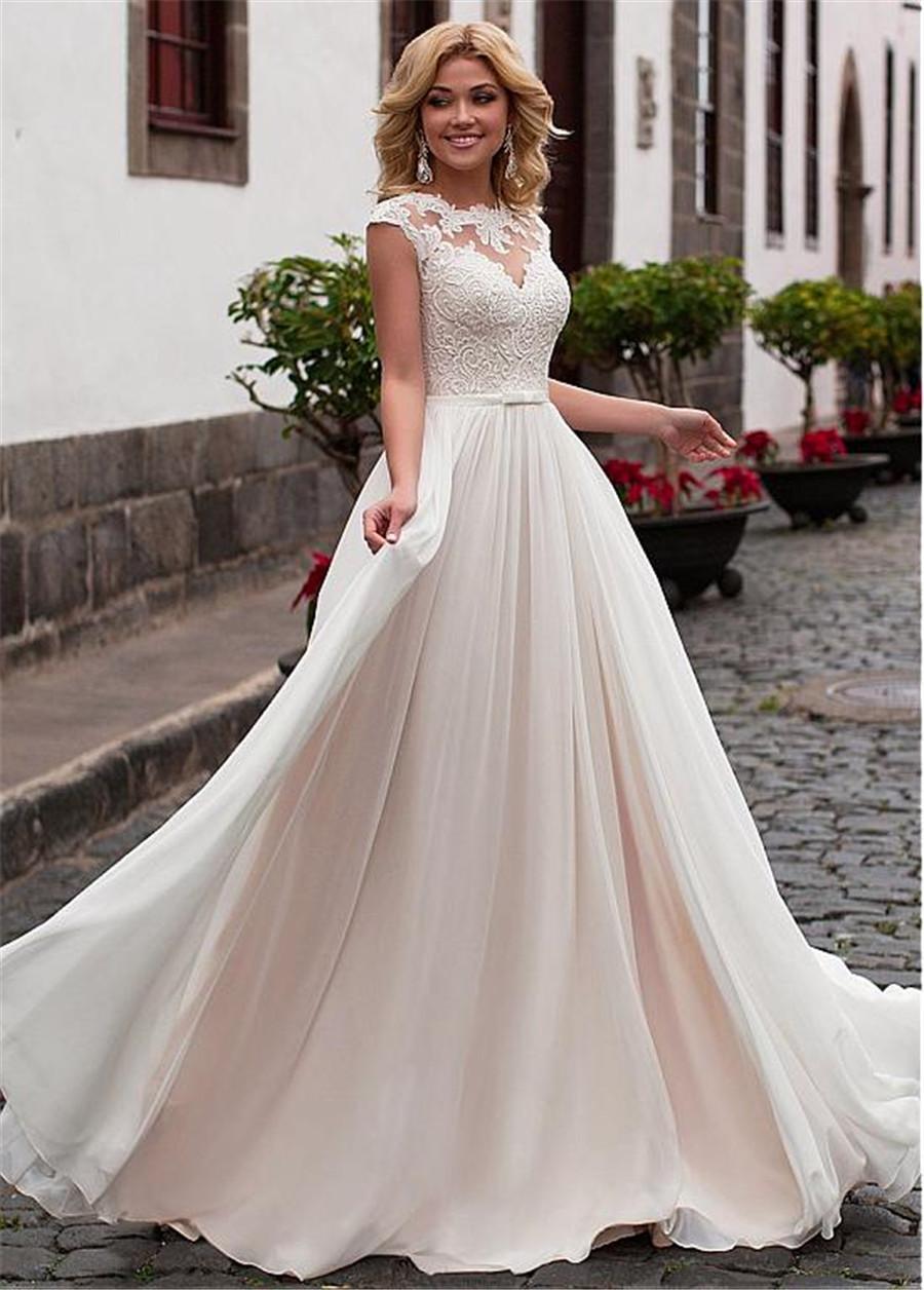 Charming Chiffon Jewel Neckline A-Line Wedding Dress With Lace Appliques & Belt Nude Bridal Dress vestido de noiva com manga
