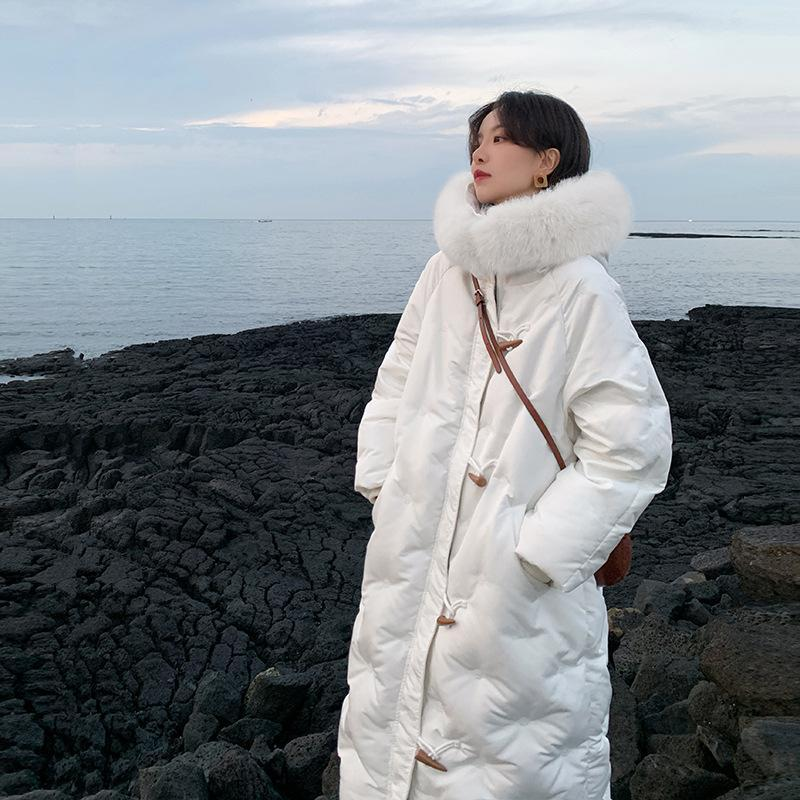 cappotti invernali donne spessa bianca Anatra bianca collo di pelliccia con cappuccio di Down Giacche manica lunga Warm Parka portatile Outwear plus size