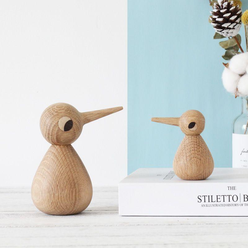 Nordic danish pájaro figurilla de madera mono muñecas adornos para niños regalos de cumpleaños para el hogar decoración accesorios artesanías de aves miniaturas 201201