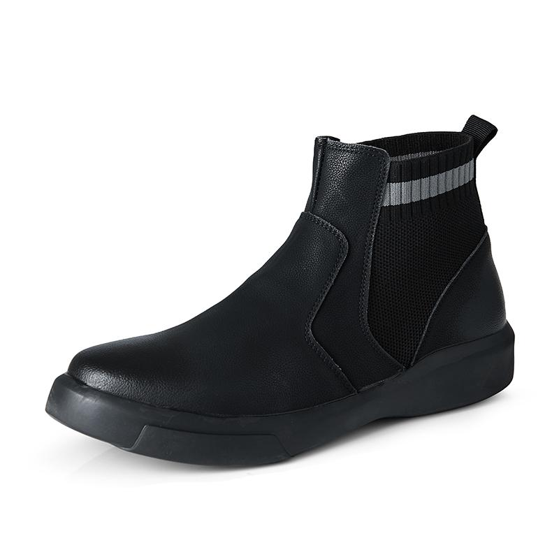 Bottes en cuir véritables pour hommes Chaussures Hommes Hiver Peluche Peluche Bottes de neige extérieures imperméables Chelsea Hommes Bottines Bottines