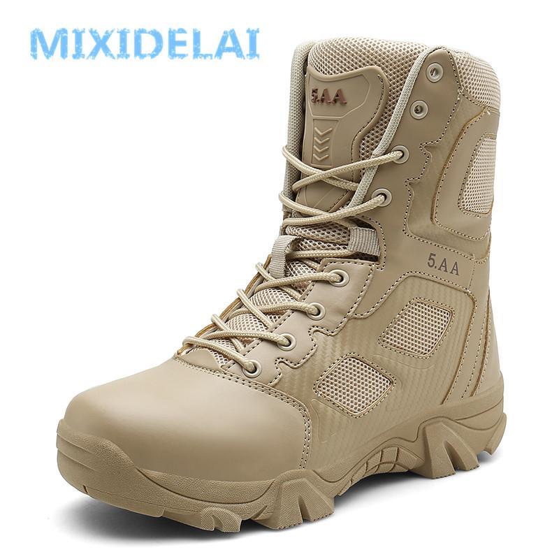 MIXIDELAI Tamanho 39-47 Desert Tactical Mens Boots-resistentes ao desgaste Exército Botas Homens Waterproof Outdoor Caminhadas Homens combate Botas 201019