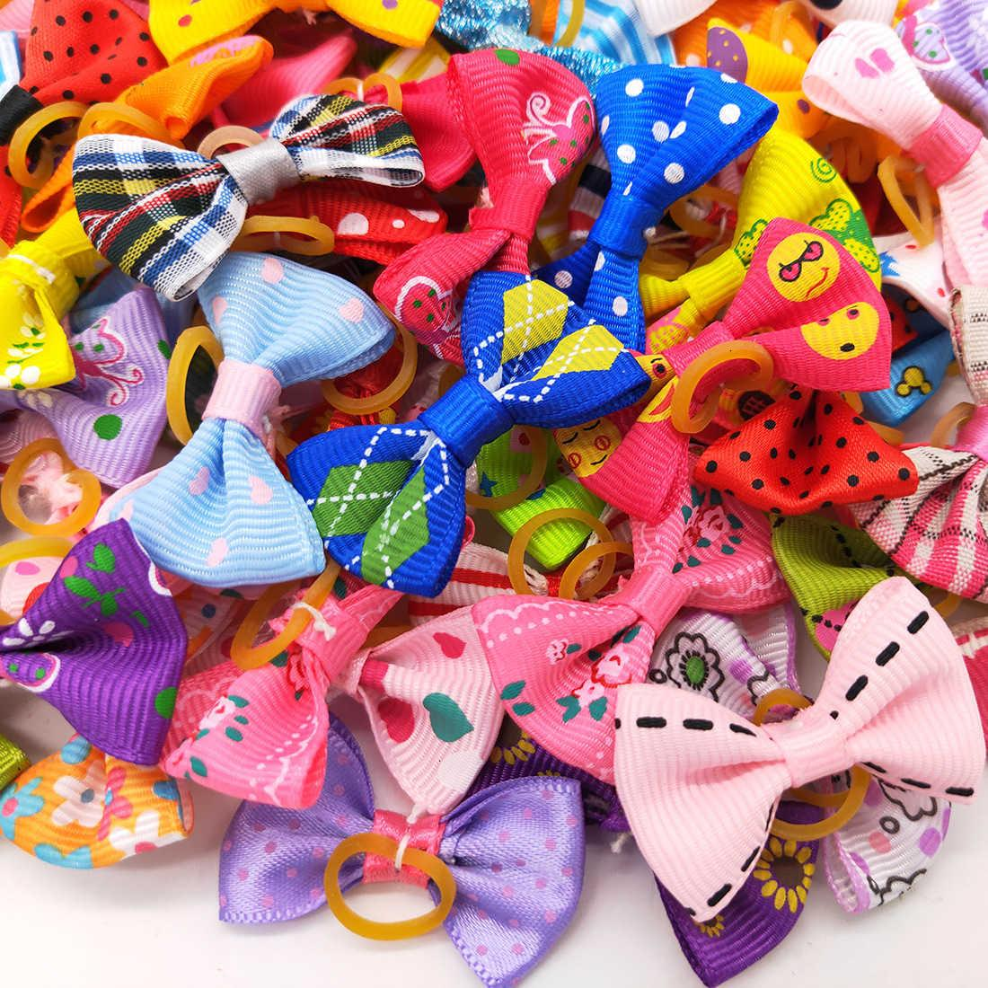 Topknot Hair with Dog Rubber Clips Bands Cute Pet Grooming Cat Little Flower Bows