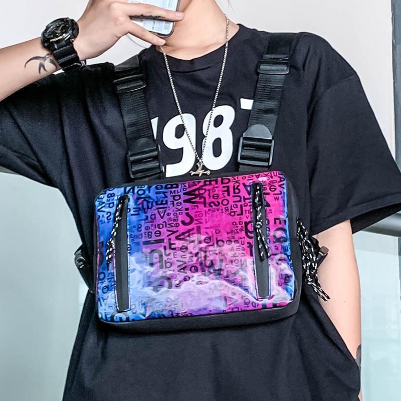 Chest Rig Bag Street Тактические сумки для мужчин 2020 Новый Светоотражающие функциональной мужской хип-хоп Chest сумка Streetwear мужчин талии сумка C1023