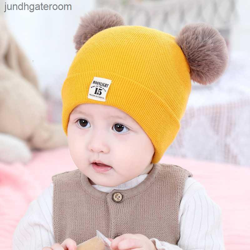 Теплая осень зима детская новая детская шерсть милый сплошной цвет пуловер вязаная шляпа мальчиков и девочек