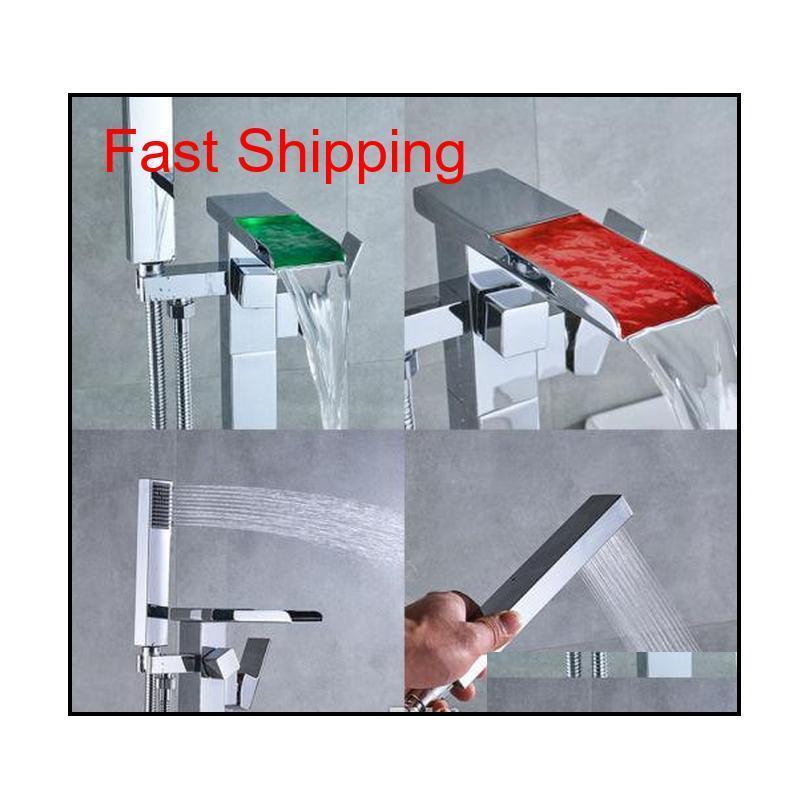 Floor Mounted Bathtub Faucet Free Standing Led Tub Filler Mixer jllsDl eatout