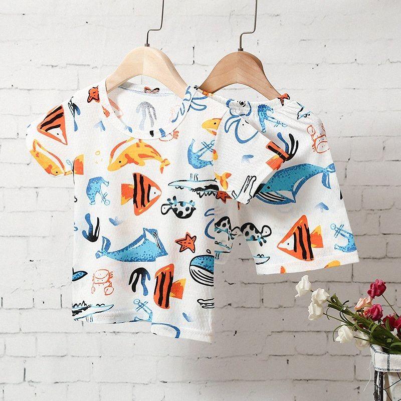 Chaleco de la historieta del verano Top Pantalones cortos Set niños del niño del niño niña sistemas de la ropa linda de la historieta de 2 piezas de ropa infantil pijamas FyNH #