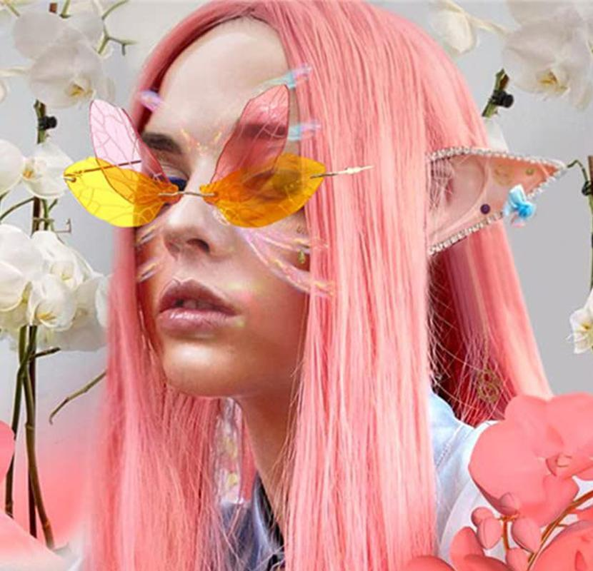 Fairy Rimless Sunglasses Women Clear Ocean Lens Dragonfly Designer Shades Fashion Cool Decorative Glasses Female For Photo